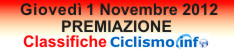 Premiazione Classifiche Ciclismo.info - Giovedi 1 Novembre 2012 - Palazzo dei Congressi di Montecatini Terme (PT) - Categorie Donne Esordienti, Donne Allieve, Donne juniores, Esordienti 1 e 2 anno, Allievi, Juniores, Elite-Under23